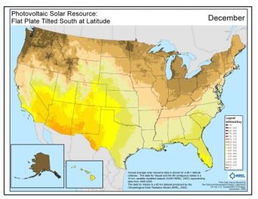 Lowest Solar Resource - December (source)
