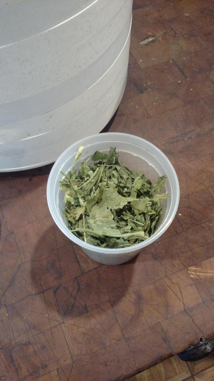 Dehydrated and crushed greens.