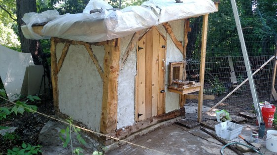 The coop after the first layer of plaster.
