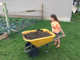 Removing finished compost.
